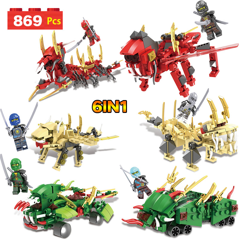 Movie Series Ninjago Dragon Building Blocks Bricks Toys Children Model Gifts Compatible LegoINGly Toys For Kid 6 IN 1 8 in 1 military ship building blocks toys for boys