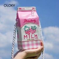 Harajuku Creative Women Messenger Bags Letter embroidery Kawaii Milk Box Shoulder Bag Japan Style Fresh Style Girl Handbags Sac