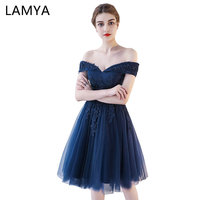 LAMYA Customized Short Evening Dresses Elegant Lace With Beading Formal Party Dress Sexy Lace Up Off
