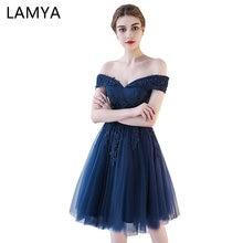 LAMYA Customized Short Evening font b Dresses b font font b Elegant b font Lace With
