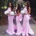 Romantic Pink Halter Mermaid Bridesmaid Dress Custom Made Backless Long Floor Length Dress For Wedding
