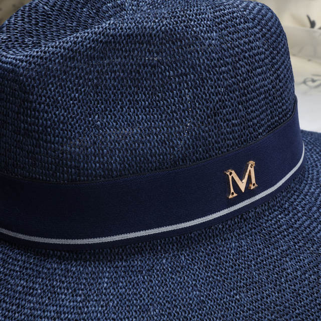 placeholder dropshipping Maison Michel Straw Hats Wide Brim M Letter Summer  Hat Women Chapeu Jazz Trilby Bowler 2386a516052