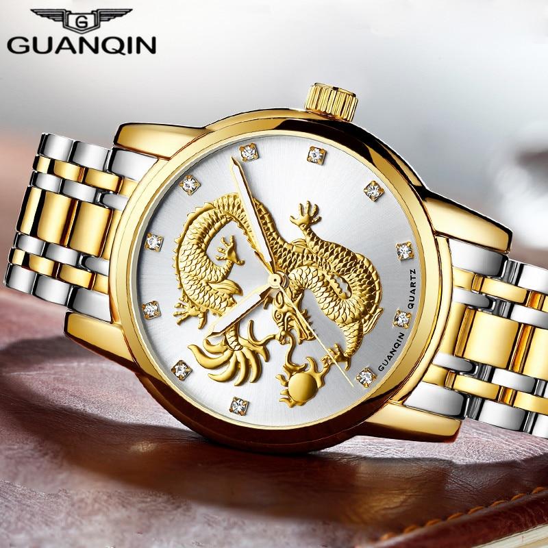 relogio masculino GUANQIN Mens Watches Top Brand Luxury Gold Dragon Sculpture Quartz Watch Men Full Steel Wristwatch relojes недорго, оригинальная цена