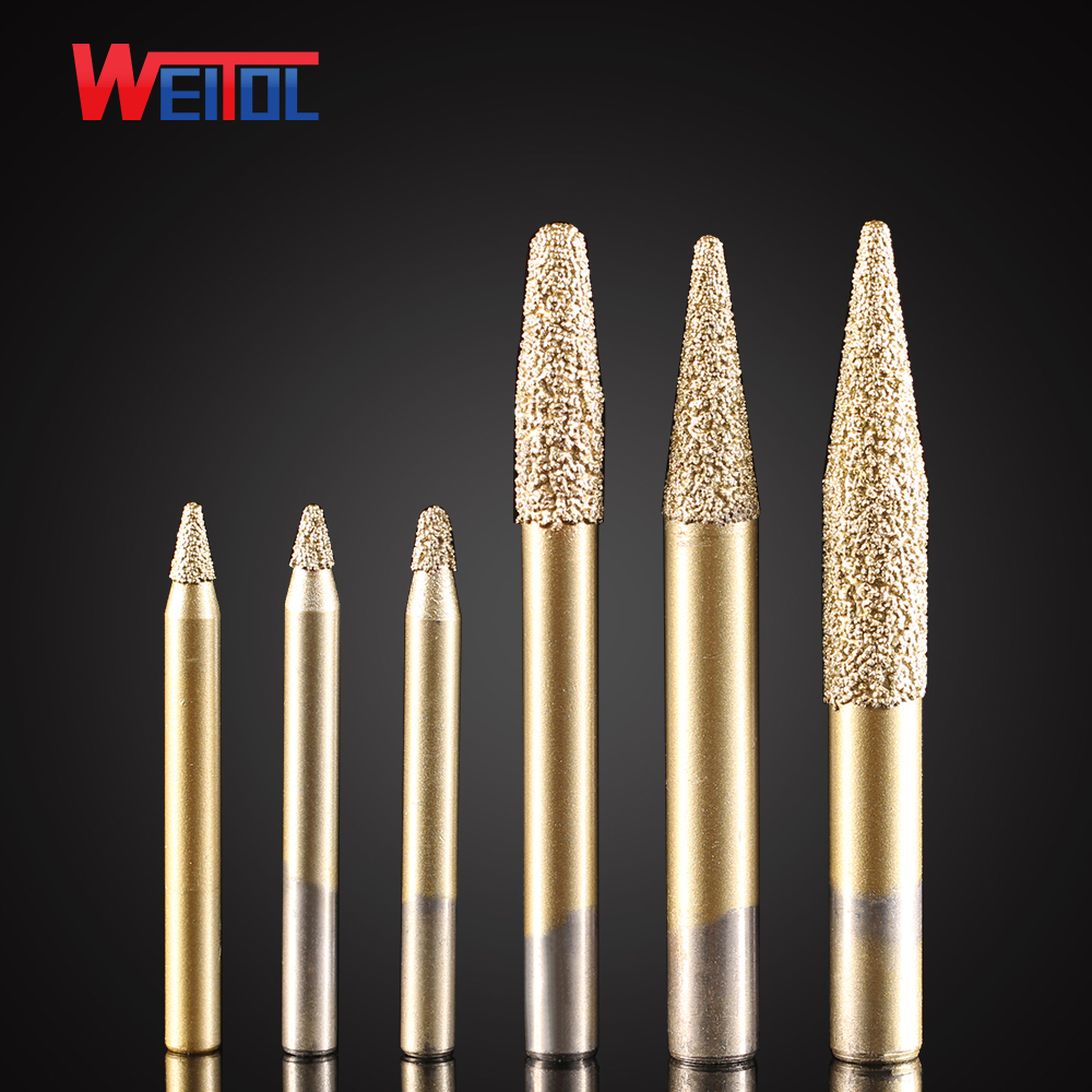 Weitol free shipping 6/8/10mm shank shipping Brazing stone engraving bits marble carving tools CNC router bits for granite free shipping 10pcs 6x25mm one flute spiral cutter cnc router bits engraving tool bits cutting tools wood router bits