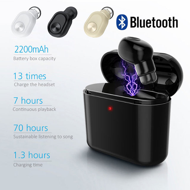c1898e00a11 2018 New Mini Wireless Bluetooth Earphones Single Earpiece Stereo Handsfree  Headset with 1200/2200mAh Box for iPhone Android-in Bluetooth Earphones ...