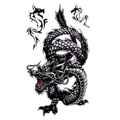 Czarny Smok Tatuaż Wzory Fałszywy Tatuaż Smok Totem Dla Arm