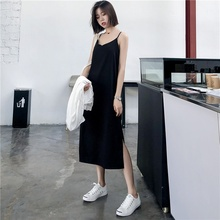 섹시한 여성 맥시 드레스 블랙 슬링 드레스 여성 여름 2019 민소매 v 목 조끼 긴 여성 드레스