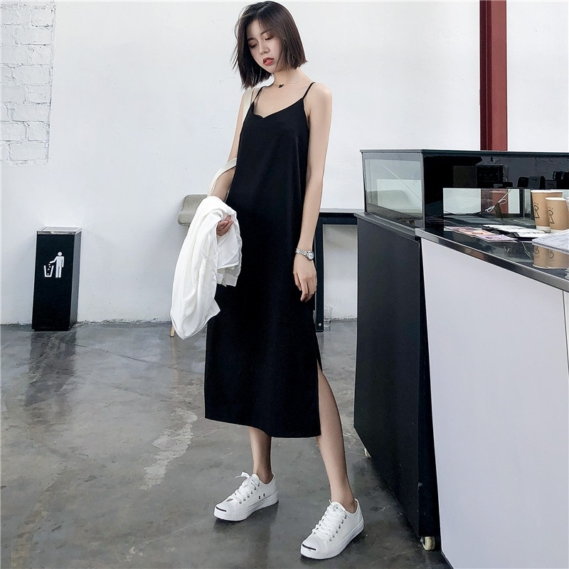 Sexy Women Maxi Dress Black Sling Dress Female Summer 2019 Sleeveless V-neck Vest Long Women Dresses