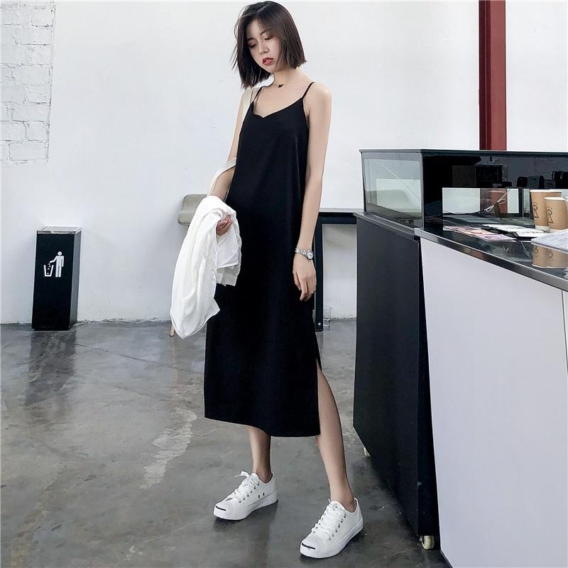Sexy Women Maxi Dress Black Sling Dress Female Summer 2020 Sleeveless V neck Vest Long Women Dresses