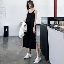 Vestido largo femenino de verano sin mangas, traje negro con tirantes para mujer, chaleco con cuello en V, 2019