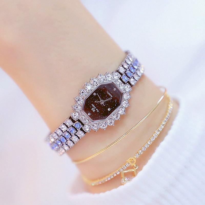 Watches Womens 2020 Top Luxury Brand Small Dress Diamond Watch Women Bracelet Rhinestone Wristwatch Women Montre Femme  11