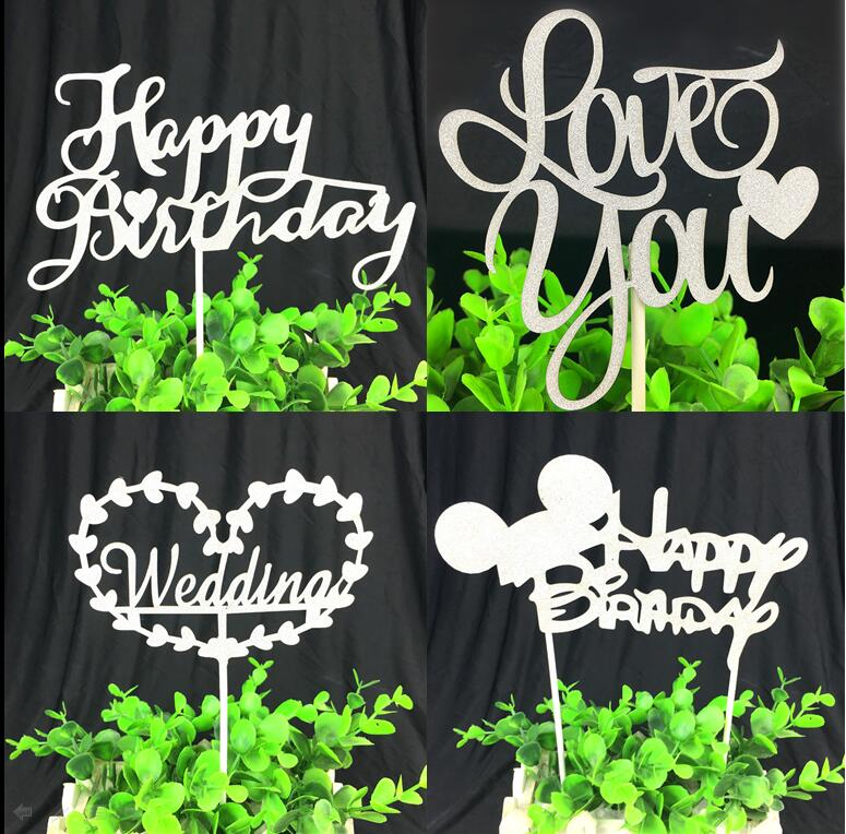 1pc Love You Happy Birthday Cake Toppers Multi Colors Flag Wedding Party Decoration Supplies Hot Sale