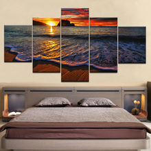 HD printed 5 piece canvas art seascape sunset sea beach painting poster wall artwork Free shipping