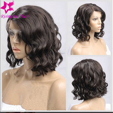 New 12″-16″ inches Short Bob Wavy Wigs Grade 7A Brazilian Virgin Full Lace Short Human Hair Wigs Water Wave For Black Women