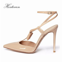 Hosteven Women's Shoes Office Sandals Pointed Toe Casual Patent Leather Thin High Heel Ladies Pumps Shoes Solid Plus Size 34-46