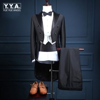 Classic Groom Black Wedding Dress Coat Tailcoat Vest Pants One Set Suit Male Stage Show Costume Slim Fit Formal Terno Customized
