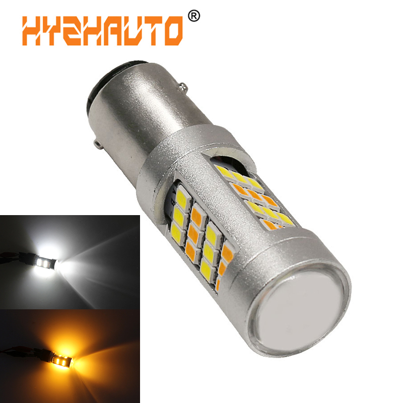 HYZHAUTO T20 <font><b>LED</b></font> Bulb Dual Color 1157 BAY15D P21/5W <font><b>T25</b></font> 3157 7443 <font><b>LED</b></font> Car Lights 2835 42-SMD White+Yellow Auto Lamp 1Pcs image