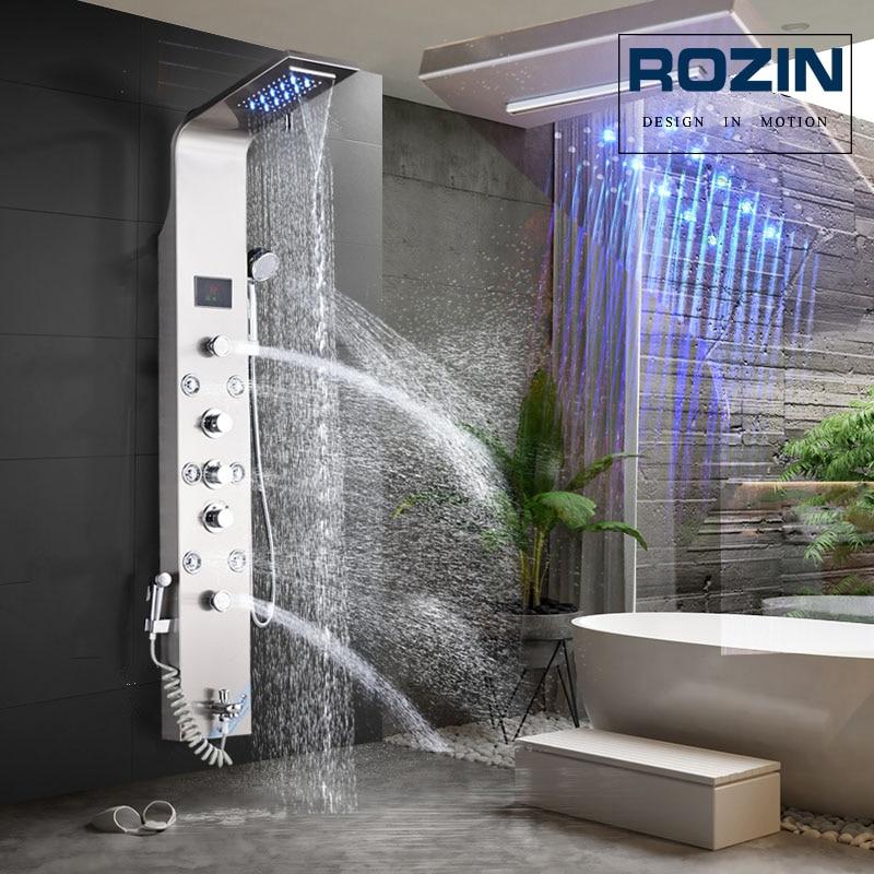 HTB10JqqXyfrK1RjSspbq6A4pFXa7 LED Light Shower Faucet Bathroom Waterfall Rain Black Shower Panel In Wall Shower System with Spa Massage Sprayer and Bidet Tap