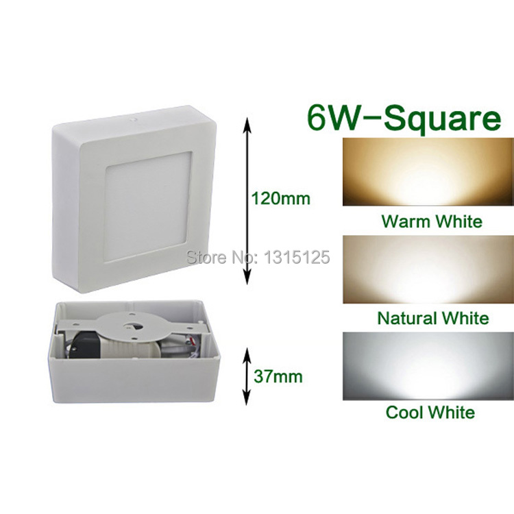 6W Square LED Panel Light / Wall Ceiling Down Lights Wholesale Mount Bulb Lamp 8inch high lumens Free Shipping