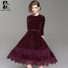 spring autumn woman dress lace bottom wine red dark green velvet velour  dress with belt fashion vintage long calf length dress a0303ec8cfb0