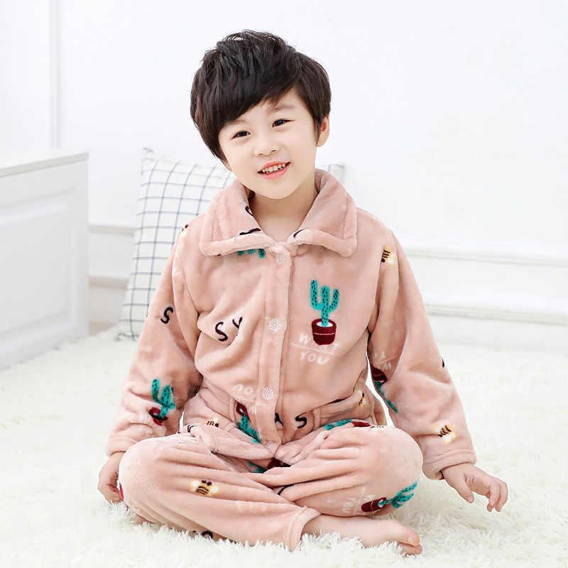 Pijamas de franela cálidos de dibujos animados para niños Pijamas de lana de Coral para bebés ropa de invierno Pijamas para niños Pijamas Unisex Conjunto 2 uds