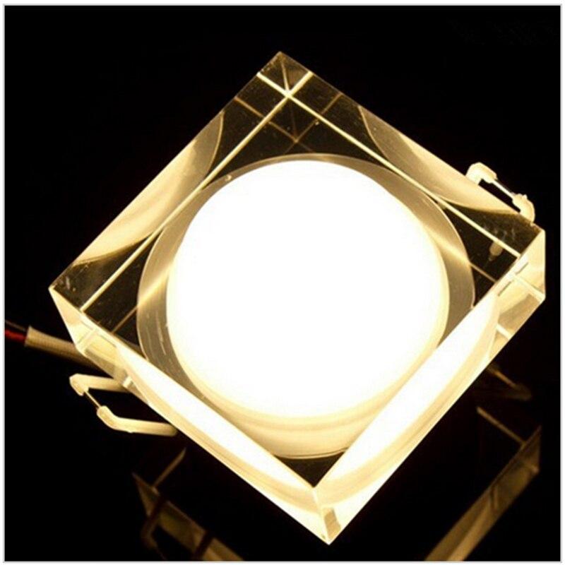 Светодиодный Потолочные встраиваемые света квадратных 1 Вт 3 Вт 5 Вт 7 Вт светодиодный хрустальные светильники Кабинет стена пятна вниз свет ...