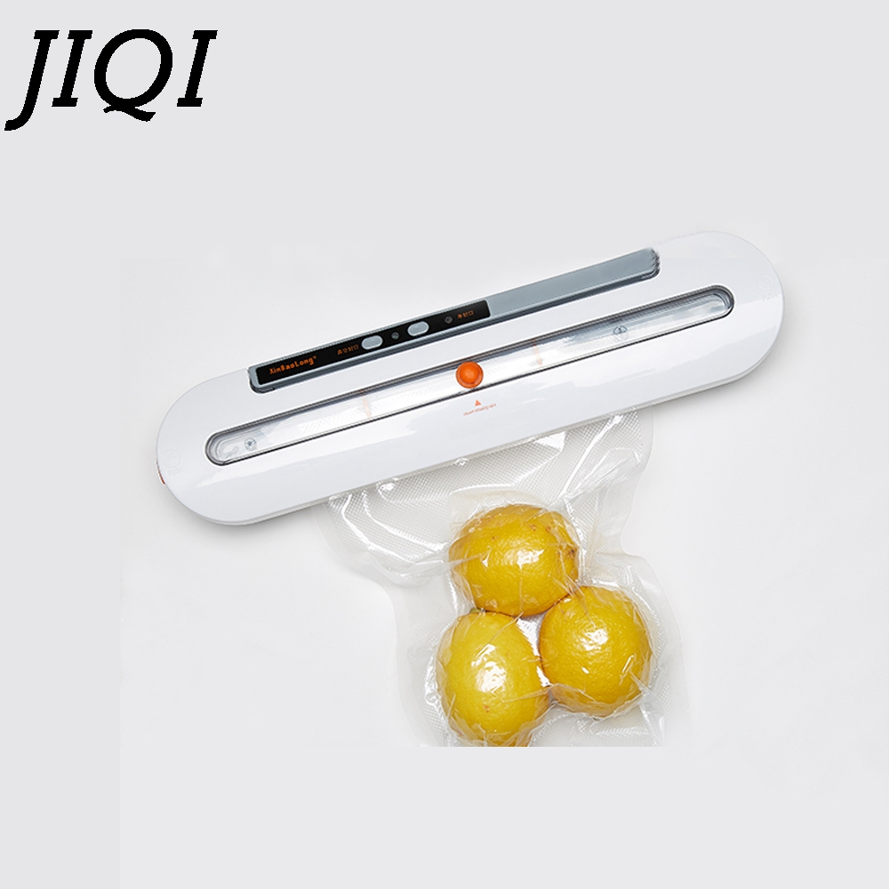 JIQI Electric Vacuum Sealer MIni Packaging Machine Film Container Food Saver Wet Dry Coffee Sealing Packer Include 10Pcs Bags EU