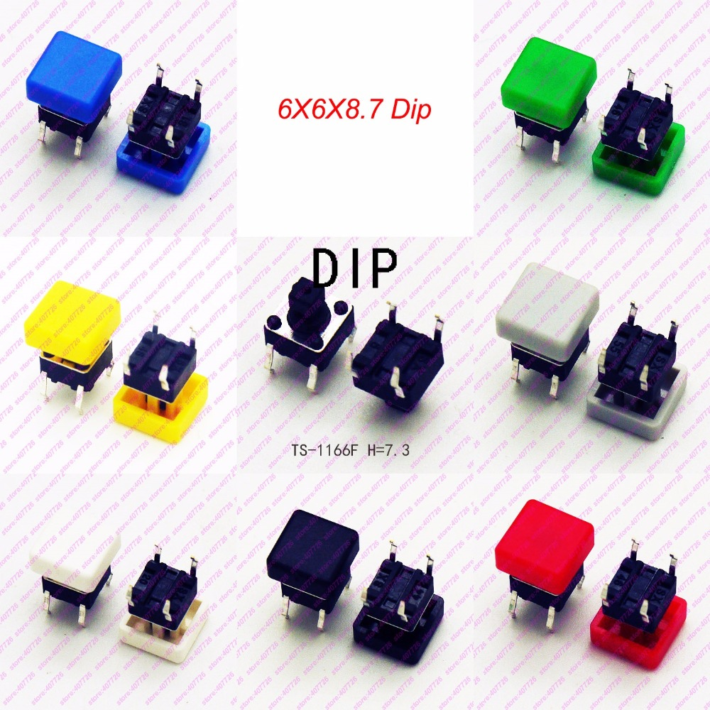 1000PCS 6X6X7.3MM 4PIN DIP (H=8.7MM With Cap) Momentary Tact Button Switch Top Square Tactical Keys Switch Mini Push Button