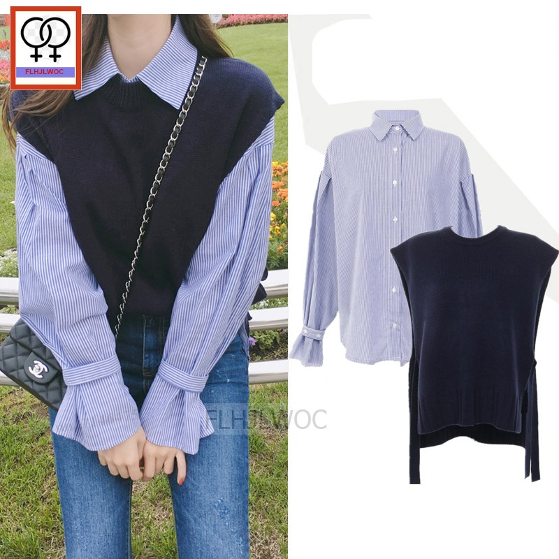 Preppy Style Girls Design Tops Women Fashion Long Sleeve Autumn Outerwear   Blouses     Shirts   Casual Stripped Vintage Button   Shirts