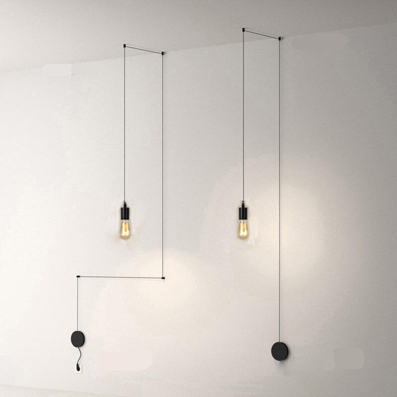 Işıklar ve Aydınlatma'ten Kolye ışıkları'de Basit DIY Geometrik Çizgi Parlaklık Kolye Işıkları Led E27 Kolye Lamba Fuaye Oturma Odası Endüstriyel Lamba Asılı lamba aksesuarı title=