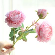 3 Heads/branch Artificial Peony Flower Fake leaf  Silk Wedding Bouquet flowers for home party garden DIY decoration цена и фото