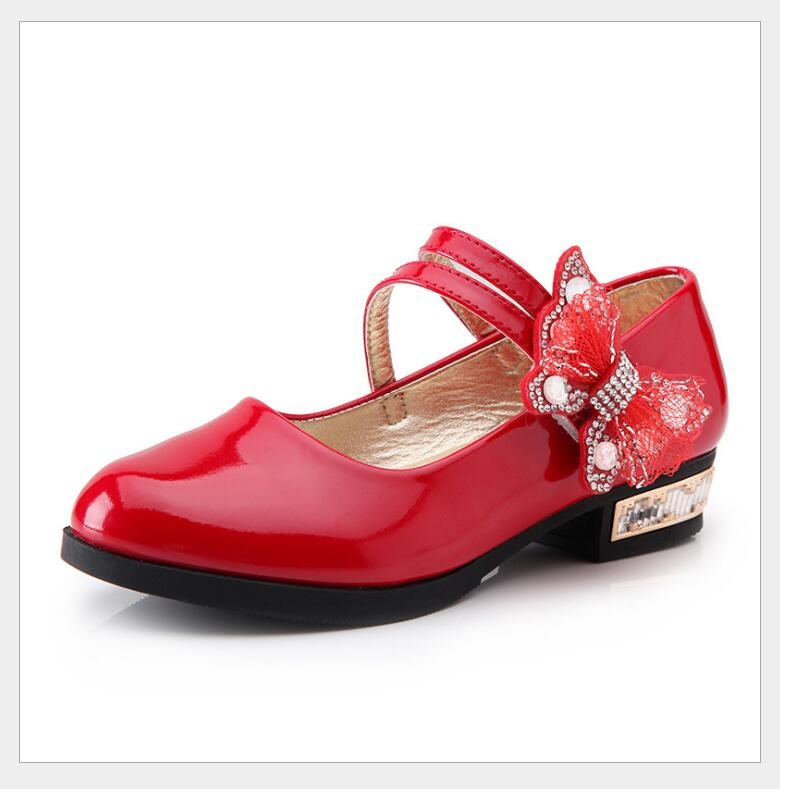 Princess Shoes For Girls 2018 New Summer Kids Baby Girls Children White Wedding Party Dress Patent Leather Shoes 25