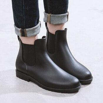 690ac8ad9 Женские резиновые сапоги, модные черные ботинки «Челси», непромокаемые  ботильоны из ПВХ без шнуровки, bota feminina, большие размеры 35-43, ...
