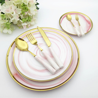 Ceramic Marbling Flat Plate Dinnerware Full Set Golden Edge Dinner Dishes With Gold Tableware Nordic Dinner Plate Food Tray Set