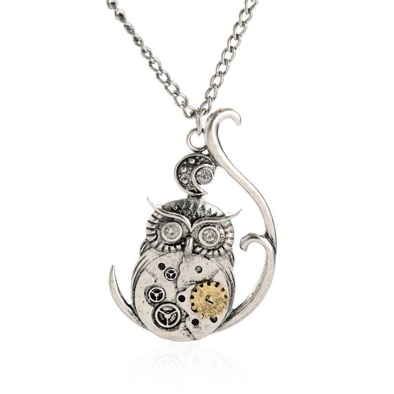 Jiayiqi 2017 Hot Sale Men Jewelry Vintage Classic Steampunk Owl Gear Pendant Necklaces for Men Jewelry Silver Color