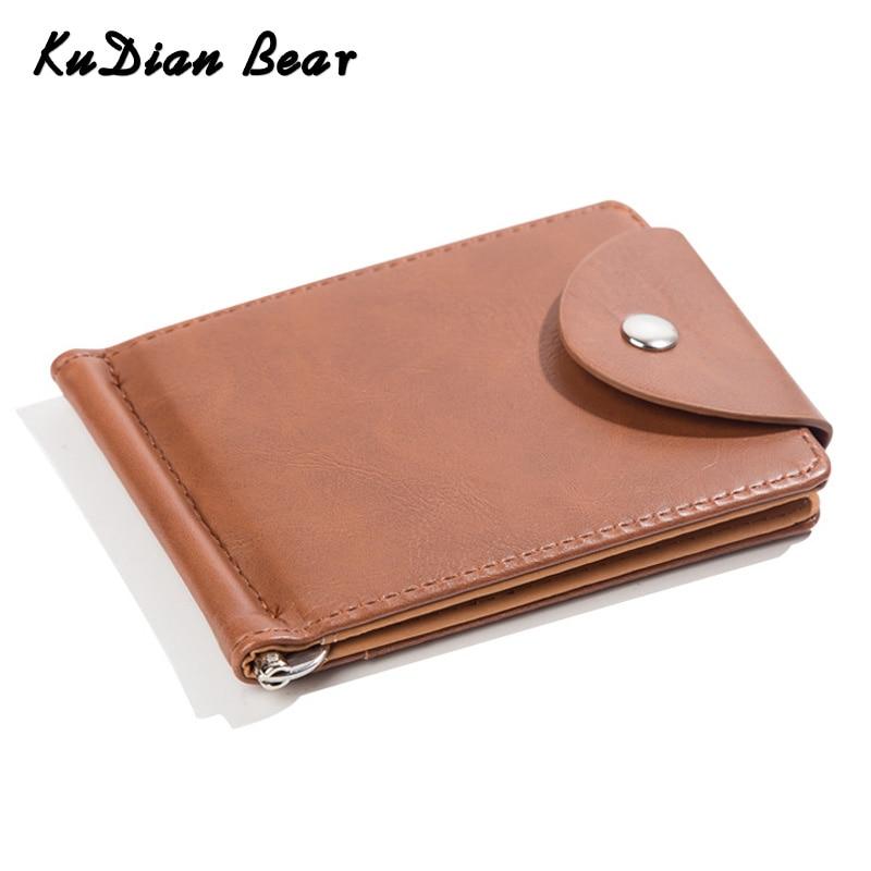 KUDIAN BEAR PU Leather Money Clip Metal Men Card Case Slim Cash Clips Metal Clamp For Money Thin Wallet Carteira BID128 PM49