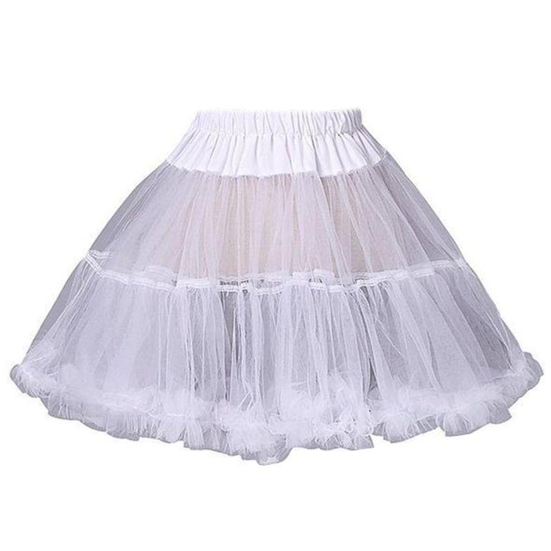 Women Girls Ruffled Short Petticoat Solid White Color Fluffy Bubble Tutu Skirt Puffy Half Slip Prom Crinoline Underskirt No Hoop