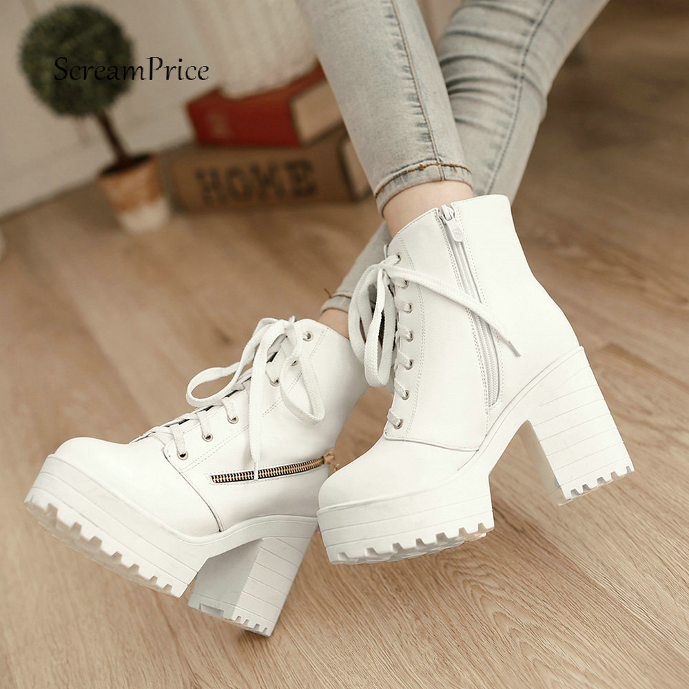 Platform Boots Soft Women Pu Leather Ankle Boots Thick High Heels Boots Zipper Lace Up Autumn Winter Plus Size Woman Shoes 2018