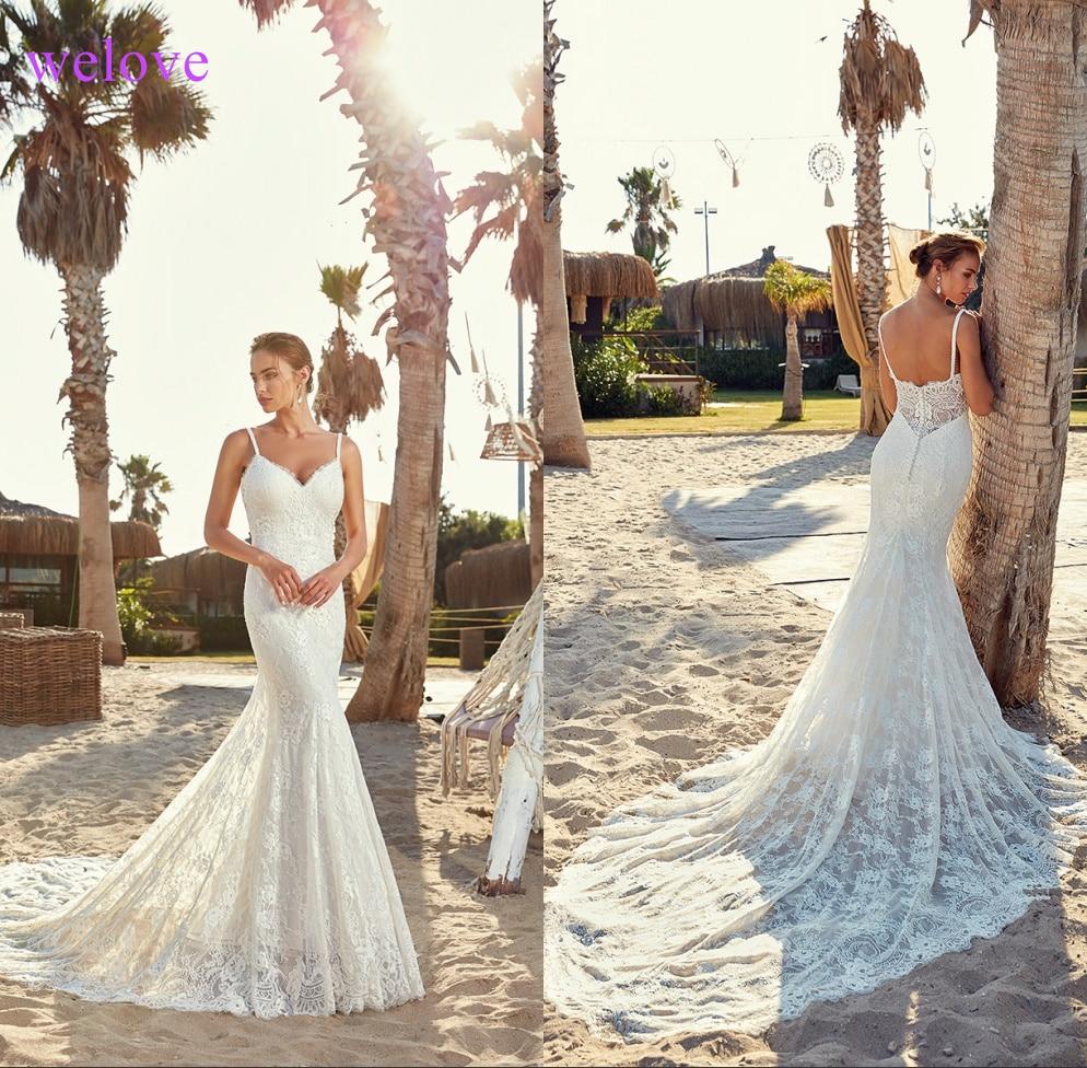 Robe De Mariee New Arrival 2019 Summer Beach Wedding Dress With Straps White Open Back Mermaid Wedding Dresses Vestige De Noiva