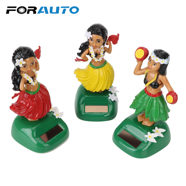 Solar Powered Shaking Head Toy Hula Auto Interior Dashboard Decoration Hawaii Girl Car Ornaments Auto Accessories