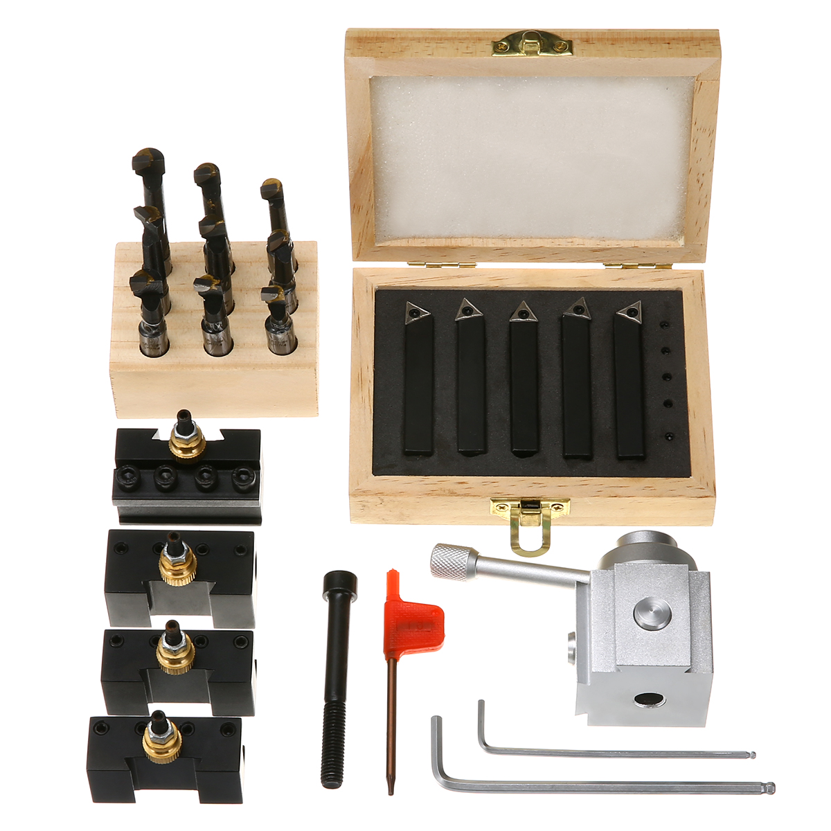 Mayitr 9pcs 3/8 Boring Bar + 5pcs Quick Change Tool Post Holder + 5pcs 3/8 Turning Tool Holder with Wooden Box ser1616h16 holder external thread turning tool boring bar holder with 10pcs 16er ag60 inserts
