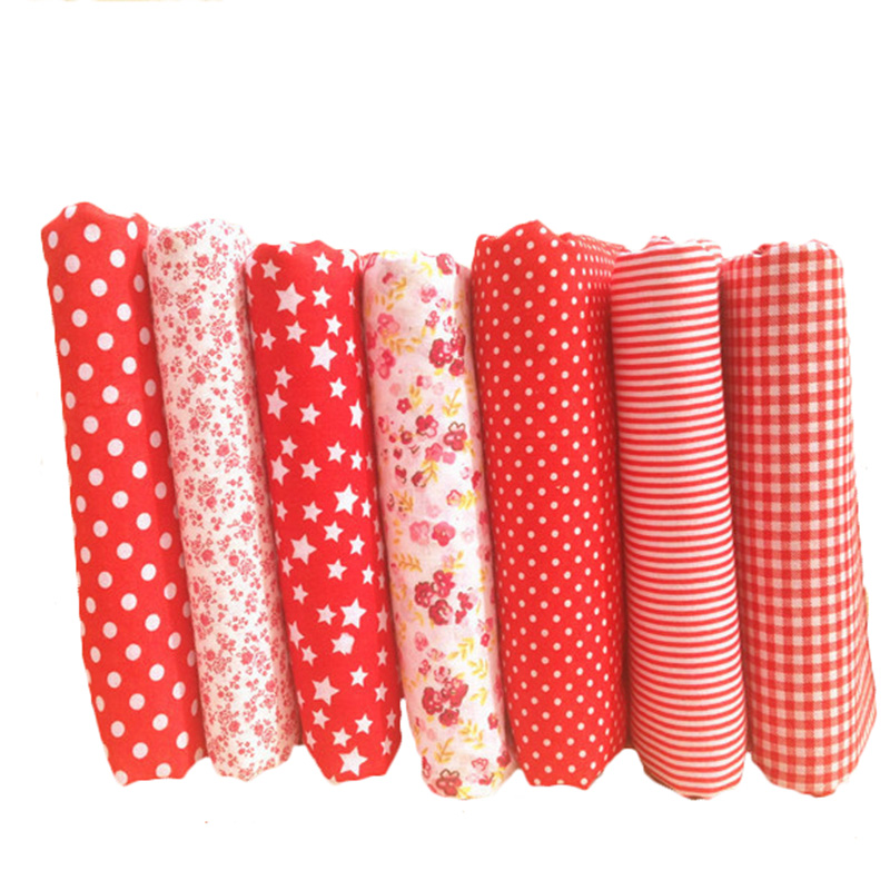 Hoomall new 7pcs red cotton fabric for patchwork cheap for Cheap sewing fabric