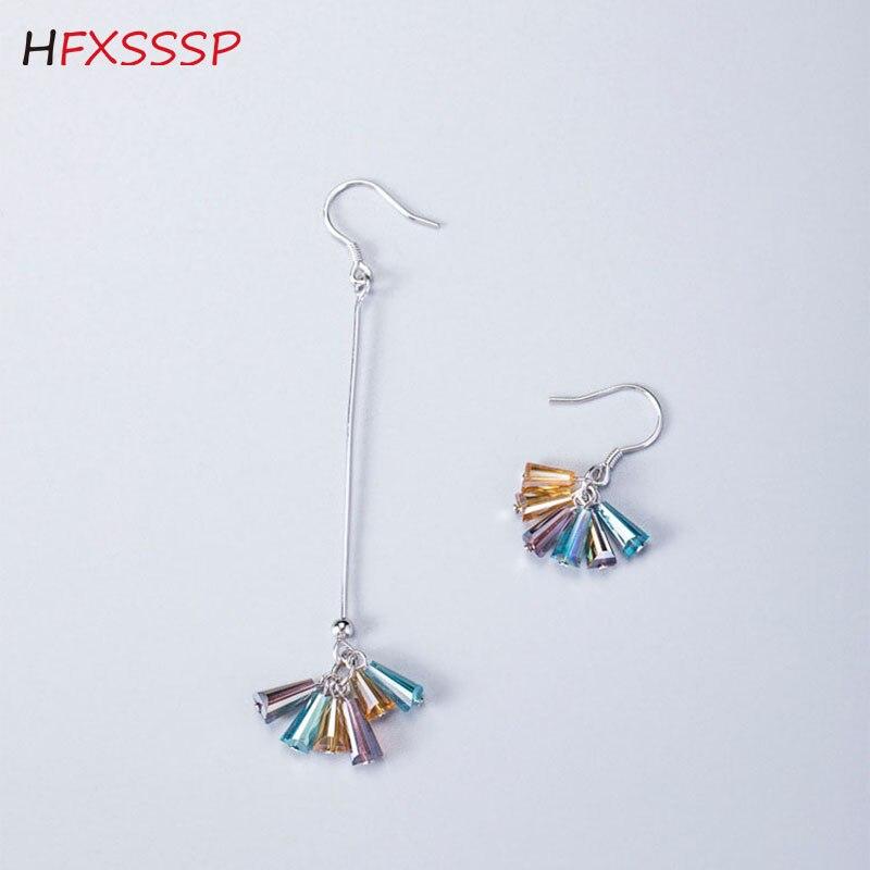 HFXSSSP S925silver doce cor assimétrica brincos de cristal do sexo feminino simples pequeno fresco menina coração longos brincos da orelha gancho jóias