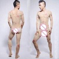 2017 ¡ Nuevo! Super Sexy ver-por la ropa interior de Los Hombres del Cuerpo medias Bodys Ropa Interior Gay Hombres Pantimedias con entrepierna Abierta Bodyhose