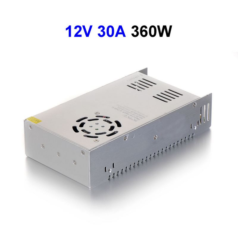 DC12V 30A 360W Switching Power Supply Adapter Driver Transformer For 5050 5730 5630 3528 LED Rigid Strip Light 15pcs dc12v 30a 360w switching power supply adapter driver transformer for cctv security cameras lcd monitor
