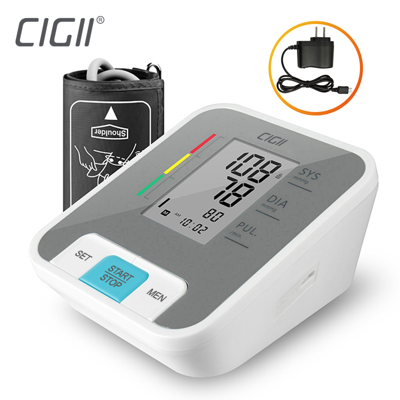 Cigii LCD Digital Upper Arm Blood Pressure Monitor Pulse Measurement Tool Health Care Voice Broadcast 1PCS Tonometer