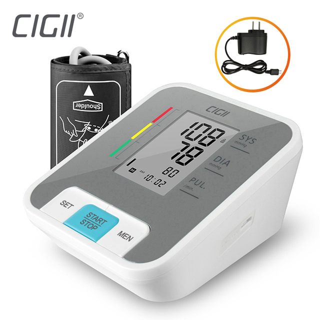 Cigii LCD digital Upper Arm Blood Pressure Monitor Pulse measurement tool health care Voice broadcast 1PCS Tonometer 5