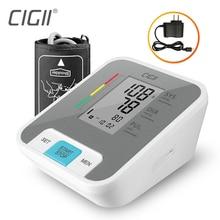 Cigii lcd digital braço superior monitor de pressão arterial ferramenta medição pulso cuidados saúde transmissão voz 1pcs tonômetro
