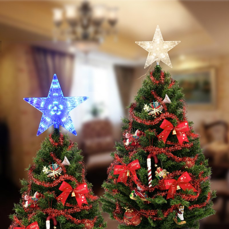 LED Christmas Tree Star Decoration Light 23CM Star Waterproof Fairy Lights For Christmas Wedding Party Garden Holiday Decor christmas tree star print tapestry wall hanging art%2