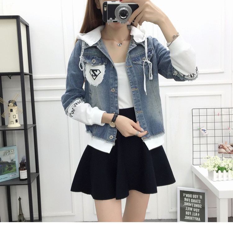 New Autumn Casual Hooded Short Denim Jacket Women Fashion Splicing Patch Coat Plus size Pockets Loose Jackets Jeans Coat Female 47